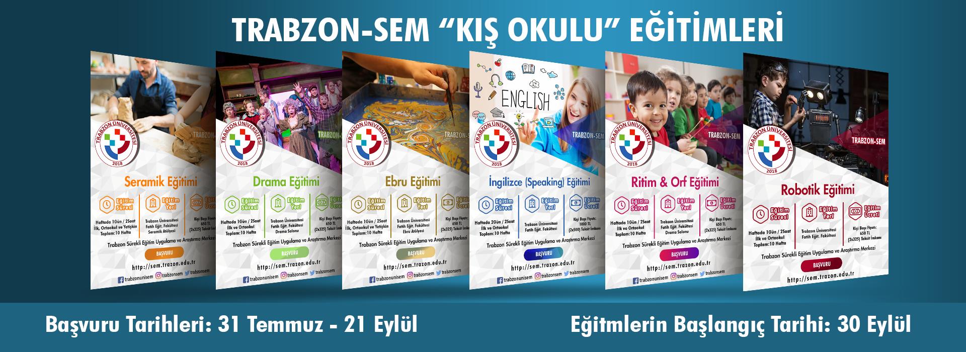 Trabzon-SEM Kış Okulu Eğitimleri Başvuruları